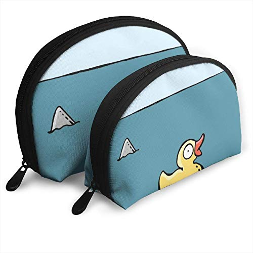 Beware of Shark Little Yellow Duck Portable Bags Clutch Pouch Coin Purse Cosmetic Travel Storage Bag One-Big and One-Small 2Pcs Stationery Pencil Multifunction Bag Child Wallet Key Case Handbag