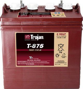 Lot of 6 Trojan T-875 8V Golf cart batteries