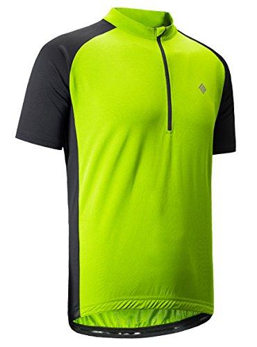 KORAMAN Men's Reflective Short Sleeve Cycling Jersey with Zipper Pocket Quick-Dry Breathable Biking Shirt Green 2XL