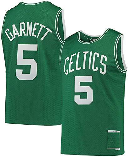 GLACX Men's NBA Boston Celtics 5# Garnett Baloncesto Jersey, Tela Transpirable Cómodo Luz Uniforme Uniforme, Gimnasio Retro Jersey Fitness Deportes Top,L