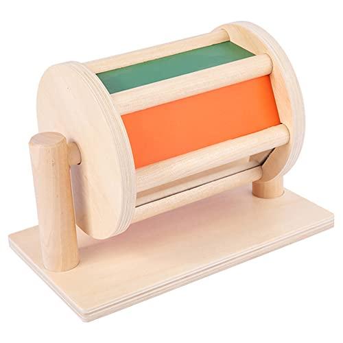 SoeHong Montessori - Tambor giratorio sensorial de madera para bebé, instrumento educativo para bebés de 6 a 12 meses y 1 año