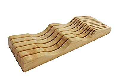 In-Drawer Bamboo Knife Block without Knives. Knife Storage and Organizer holds 10-15 knives by Shenzhen Knives