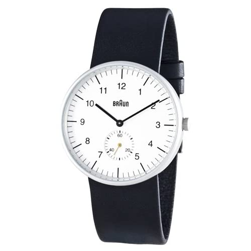 Braun Mens Analog Wrist Watch, White Face 38 mm