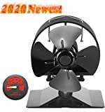 Newest Upgrade Wood Stove Fan, CRSURE Small SF/524 Heat Powered Fan 4-Blade for Wood Burning Stove | Log Burner | Fireplaces, Wood Burner Fireplace Fan for Stoves with Thermometer (Mini Size, Black)
