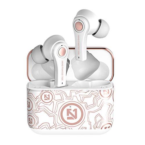Cobeky Graffiti - Auriculares in-ear con funda de carga estéreo para trabajo, color blanco