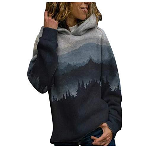 Women Sweatshirt Tops Plus Size Mountain Lanscape Printed Long Sleeve Hooded Pullover Jumper Dark Gray