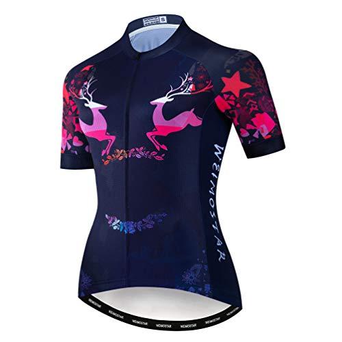 JPOJPO Flower - Maillot de ciclismo para mujer de manga corta para bicicleta de verano, ropa de ciclismo de secado rápido
