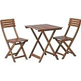 不二貿易 ガーデン3点セット テーブル×1 チェア×2 ブラウン 79444