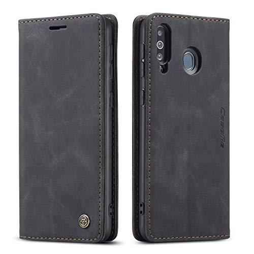 Bigcousin Handyhülle kompatibel mit Samsung Galaxy A40S/M30,Leder Flip Etui Handytasche Schutzhülle,Schwarz