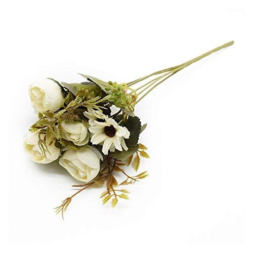 Künstliche Pflanze, mehrfarbige Tee-Rosen, Vasen für Zuhause, Dekoration, Zubehör, künstliche Gänseblümchen, Kunststoff, Hochzeit, dekorative künstliche Blumen, DIY-Möbeldekoration (Farbe: 1)