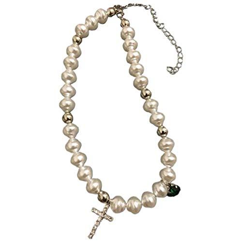 OWENRYIN Collar de perlas de imitación irregular, elegante joya con diamantes de imitación y cruz de cristal, colgante de oro