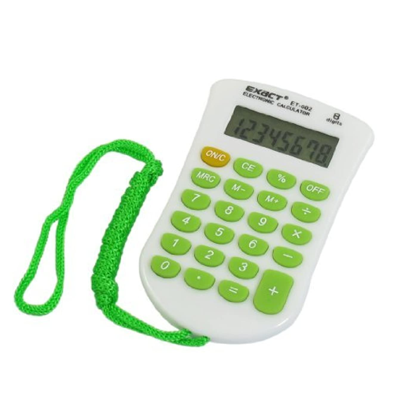 アドバンテージありそう助言するオフィスのプラスチック液晶ディスプレイ8桁電卓ストラップ付緑白