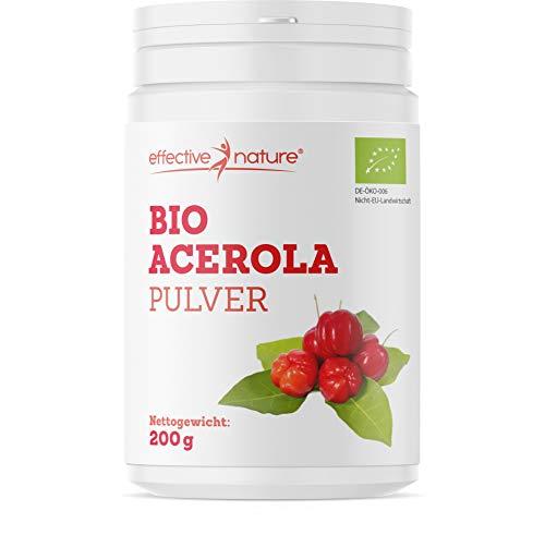 effective nature Bio Acerola Pulver - Natürliches Vitamin C aus der Acerolakirsche - Hochdosiert - Deckt 167% des Vitamin-C-Bedarfs - Ohne Zusatzstoffe und Rohkostqualität - Schonend getrocknet - 200g
