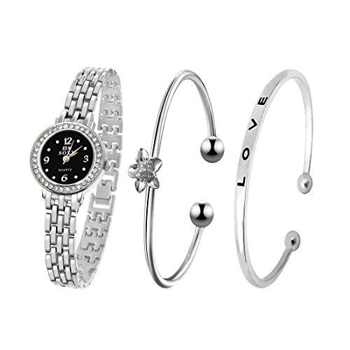 """Souarts - Set di braccialetti e orologio analogico al quarzo da donna, colore argento, un braccialetto con diamanti artificiali e l'altro con scritta """"love"""", idea regalo di Natale"""