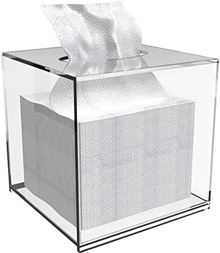 Vävnadslåda täcker, vävnadsboxhållare, pappersvävnadslåda, servettförvaringslåda, vävnadsboxhållare med täckt kvadrat, ansiktsvävnadsdispenserboxfodral för bänkskivor, klart plasttorkarkonbehållare se