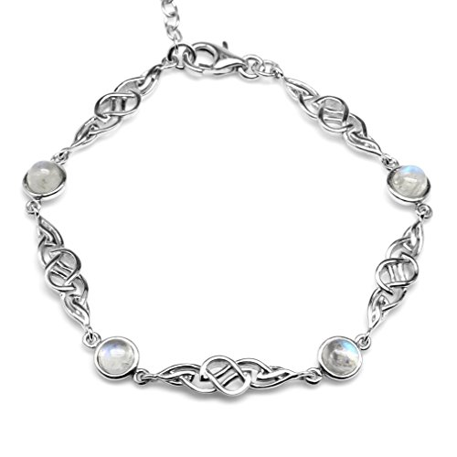 Silvershake Natural Moonstone 925 Sterling Silver Celtic Knot 7 to 8.5 Inch Adjustable Bracelet