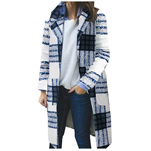 HuaCat Wollmantel Damen Gitter Wolle Parka Wintermantel Schlanke Trenchcoat Mode Kleidung Lange Mantel Outwear