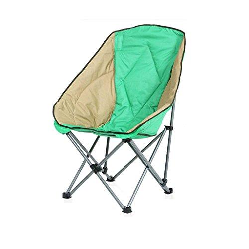 GYH Chaise pliante Moon Chairs- Chaise de camping de loisirs sans porte-gobelet Cadre en acier repliable Padded Portable/bleu vert @@ (Couleur : Green)