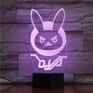 Lampara LED Heroe D.Va Bunny Logo Cambia Color USB Luz Nocturna
