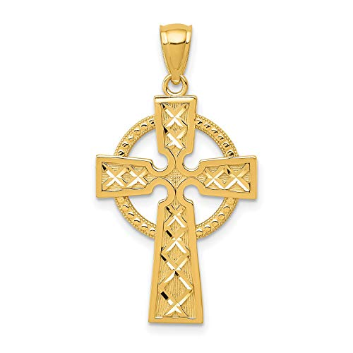 14k Yellow Gold Celtic Iona High Cross Pendant with Intersecting Lines 32 mm x 18 mm