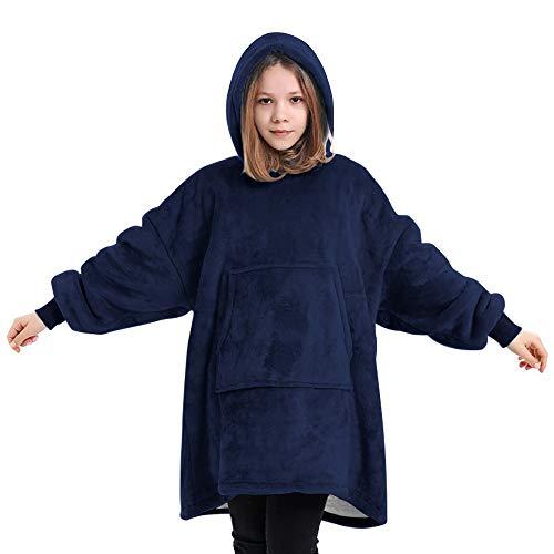 Deken Hoodie voor Kinderen, Oversized Hoodie Sweatshirt Deken, Super Zachte Fleece Badjas, Warm Comfortabele Hooded Robe, Oversized Microfiber & Sherpa Draagbare Deken, One Size Fits All - Blauw