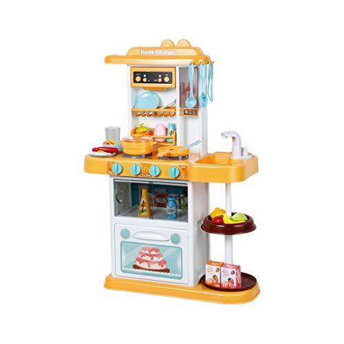 Spielzeug Küchenspielzeug Set glücklicher Kleiner Chef, der vorgibt, mit Spielzeug zu Spielen, Küchen-Set, hellspieler mit Ton, Spielzeugküchenzubehör (33-teiliges Set) (Color : Yellow)