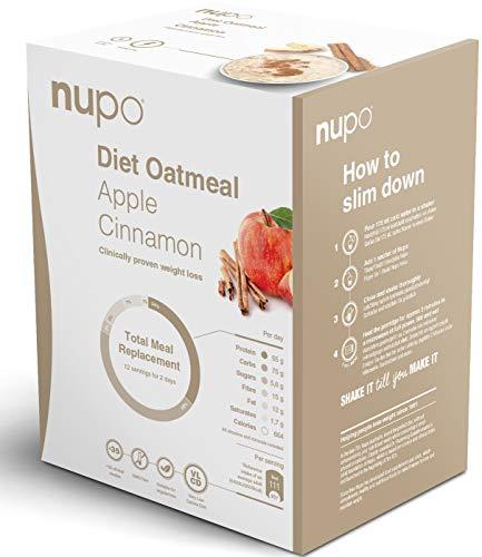 NUPO Diet Oatmeal Apfel-Zimt – Premium Diät-Haferflocken zum Abnehmen I Klinisch geprüfter Mahlzeitersatz für effiziente Gewichtsabnahme I 12 Portionen I Very low calorie diet, glutenfrei, GMO frei