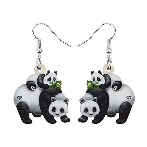 XAOQW Acrílico Día de la Madre Lovely Panda Pendientes de bebé Colgar Gota Moda Anime Joyería Animal para Mujeres niñas Lady Accesorios