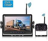 LeeKooLuu FHD 1080P Digital Wireless Rear View Camera, 7'' DVR MonitorIP69K...