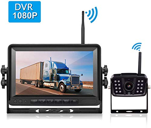 LeeKooLuu FHD 1080P Digital Wireless Rear View Camera, 7'' DVR MonitorIP69K Waterproof Color Night Vision High-Speed Observation System Backup Camera for RVs/Trailers/Motorhome/5th Wheels/Campers