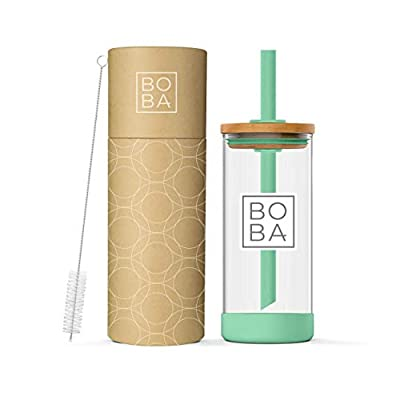 Reusable Eco-Friendly Glass Boba Tea Tumbler with Bamboo Wood Lid, Wide-Angle Straw and Straw Cleaner Brush - 18.5oz (Seafoam Green)