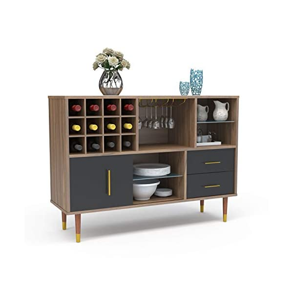 Mecor Kitchen Sideboard Buffet, Storage Cabinet Server Cupboard, Console Table w/Wine Rack, Goblet Rail, Open Shelves and Drawers, Walnut/Black