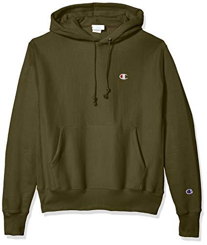 Champion LIFE Men's Reverse Weave Po Hood - Small Left Chest C, Cargo Olive, 3X Large