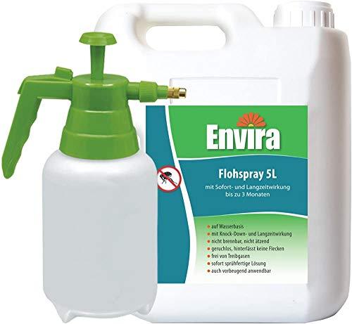 Envira Floh-Spray - Anti-Floh-Mittel Mit Langzeitwirkung - Geruchlos & Auf Wasserbasis - 5L + 2L Drucksprüher