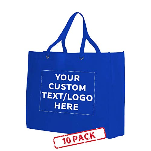 Shopping Tote Bags - 10 pack - Customizable Text, Logo - Non-woven Cloth Reinforced Totes - Reusable - Blue