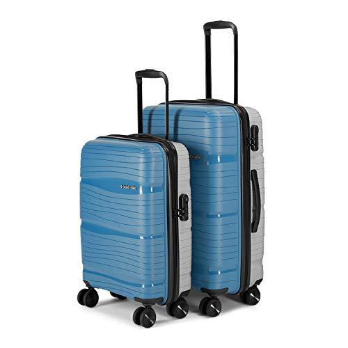 Nasher Miles Nicobar Hard-Sided Dual Tone Polypropylene Luggage Set of 2 Blue and Grey Trolley Bags (55 & 65 cm)