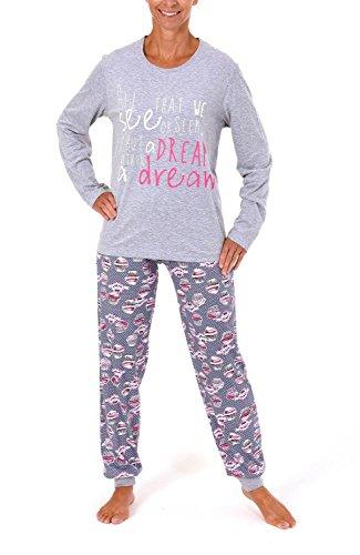 Normann Lässiger Damen Pyjama Langarm mit Cupcake Drucken - 261 201 90 103, Größe:44/46;Farbe:grau-Melange