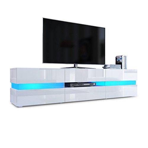 Vladon TV Board Lowboard Flow, Korpus in Weiß Hochglanz/Front in Weiß Hochglanz inkl. LED Beleuchtung