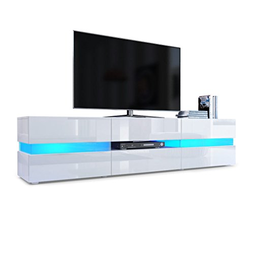 Vladon TV Unit Cabinet Flow, Carcass in White High Gloss/Front in White High Gloss with LED Lights
