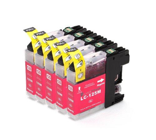 Multipack – 5x magenta Druckerpatronen (LC-125 M) kompatibel zu BROTHER mit CHIP für Brother MFC-J4110 DW MFC-J4410 DW MFC-J4510 DW MFC-J4610 DW MFC-J4710 DW