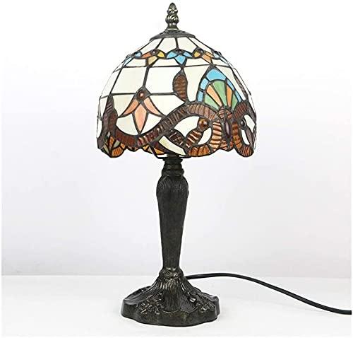 Tiffany lámpara de mesa clásica europea barroco vidriera lámpara de noche 8 pulgadas