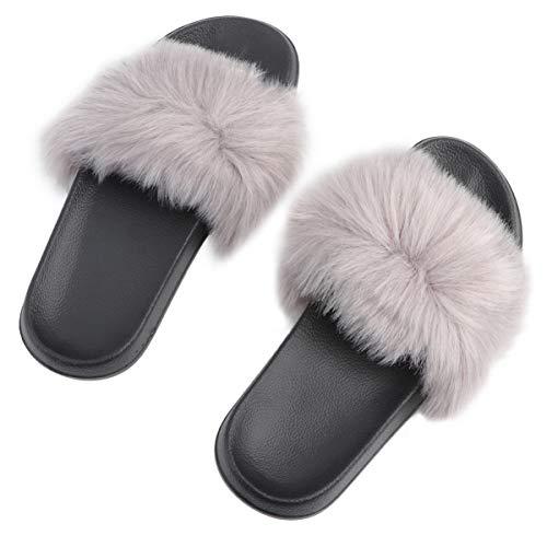 Happyyami Ciabatte Donna con Pelo Estivo Mules Open Toe Flat Slingback Heels Pantofole Elegante e Confortevole per Il Tempo Libero