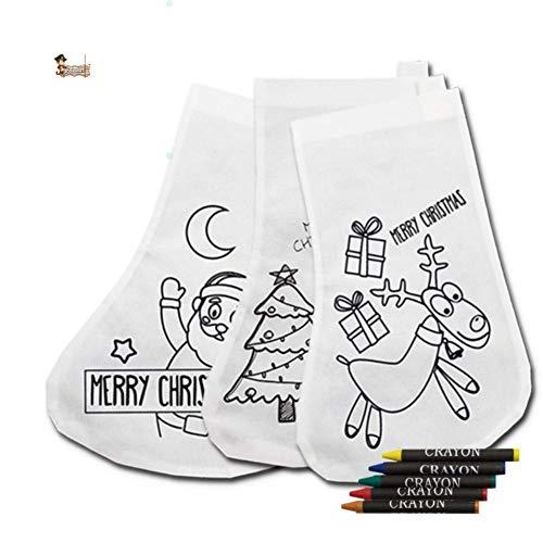 BricoLoco. Kit Pintar calcetín Navidad navideño Infantil. Manualidad navideña niño y niña decoración árbol de Navidad. (5uds)