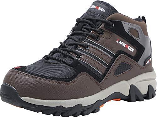 LARNMERN Herren Stahlkappe Sicherheitsschuhe, LM-109 reflektierenden Gürtel Anti-Punktion Industrie und BAU Arbeit Schuhe (45 EU, Braun)