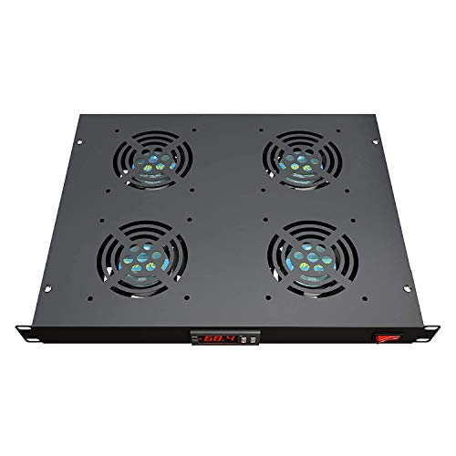 "Rack Mount Fan - 4 Fans Server Cooling System - 1U 19"" Rackmount Cabinet Panel w/Adjustable Airflow Control - Heat Monitor Digital Display - Temperature Sensor Alarm -Air Flow Exhaust -Tupavco TP1701"