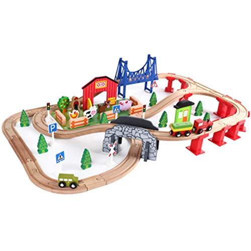 Zhengowen LKW-Spielzeug-Set 82 Stück Holz-Zugspur-Set Kompatibel Mit Holzspielzeug-Eisenbahn-Sets Kinder-LKW-Spielzeug-Set (Farbe : Natural, Size : One Size)
