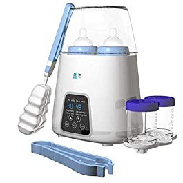 【Upgraded 2020】Dual Bottle Warmer & Sterilizer 5-in-1 Baby with Timer – Two Bottles BPA-Free Fast Baby Infant Food Rapid Defrosting, Heating – Twin Accurate Temperature Control of Breastmilk, Formula