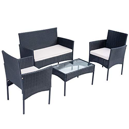 SUFUBAI - Set di mobili da balcone, 4 pezzi, set di mobili da giardino in rattan, sedia in vimini, per cortile, portico, giardino, piscina, balcone