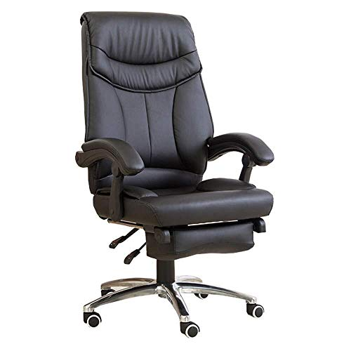 Hoge rugleuning met grote rugleuning en kantelfunctie, computerstoel, bureaustoel, gevoerd, PU-leer, met beensteun en verstelbare helling, gewicht 150 kg. Zwart