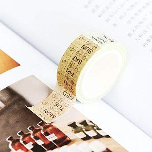 ZXWDL Tape-functie Washi Tape dagelijks wekelijks plakalbum papier stickers geschenk kwaliteit schrijfwaren DIY scrapbooking fotoalbum school gereedschappen